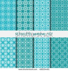 Set of eight Seamless geometric line patterns. Contemporary graphic design. Endless linear backgrounds collection, seamless lace texture for banners, flyers, invitation cards Monochrome color ornament