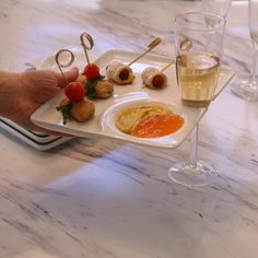 appetizer plate with champagne glass holder