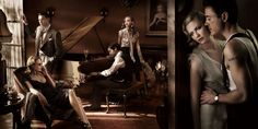 Film Noir Photoshoot - Vanity Fair- wow, love the piano with the drinks on it- what a cast!
