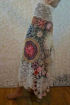 Re-purposed doilies skirt, would look great over a silk broomstick skirt! Crochet Skirts, Crochet Clothes, Diy Clothes, Crochet Skirt Pattern, Freeform Crochet, Knit Crochet, Crochet Doilies, Lace Doilies, Crochet Style