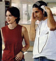 Winona and Ben during the filming of Reality Bites