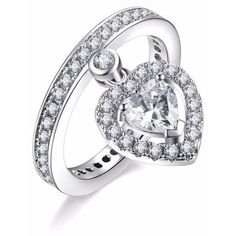 Silver Dangle Cz Heart Ring