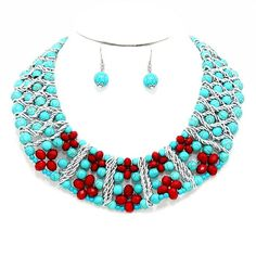 New Turquoise, Red Bead Collar Necklace & Earrings Set