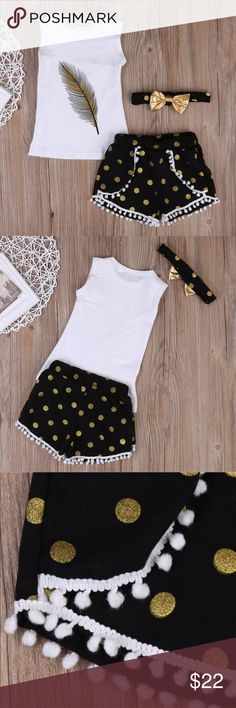 NWT Boutique Style 3 Piece Girls Short Set NEW WITH TAGS 3 piece set. Short, Tank top & headband White top with black / yellow feather.  Black w/ gold polka dot shorts & headband.  Cotton blend material  Size Chart: Size/Age range- 3-4 years Top length- 14 1/2 inches Pit to pit- 10 3/4 inches Pant length- 7 1/2 inches Waist- 15 1/2 inches around  Please check measurements carefully. Outfit runs a bit small (in my opinion). Measurements are approximate +/- a 1/4 inch. Matching Sets