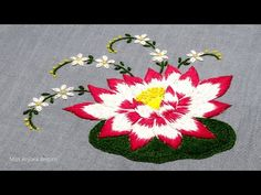 Hand Embroidery Videos, Embroidery Stitches, Embroidery Designs, Flower Embroidery, Lotus Flower, Stitching, Flowers, Youtube, Pattern