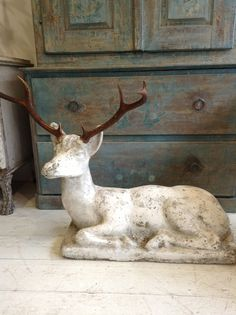 Love love the statue, do not like the antlers, it takes away from the beauty of the deer. Christmas Makes, Christmas Mood, Noel Christmas, All Things Christmas, Deer Statues, Shabby, Oh Deer, Soft Colors, Fall Decor