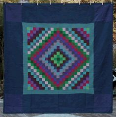 I love the blues and greens in this one. Amish quilt, Sunshine and Shadow, Lancaster County, PA, Primitive Quilts, Antique Quilts, Vintage Quilts, Amische Quilts, Barn Quilts, Quilting Projects, Quilting Designs, Amish Quilt Patterns, Amish Dolls
