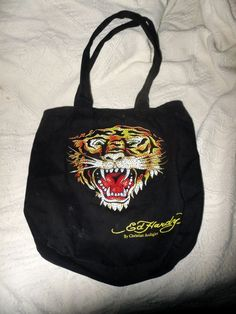 b20c8745f7ea Ed Hardy Black Canvas Tote Tiger Ness Bag Sport School Christian Audigier
