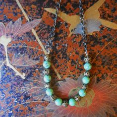 Turquoise and filigree bead necklace