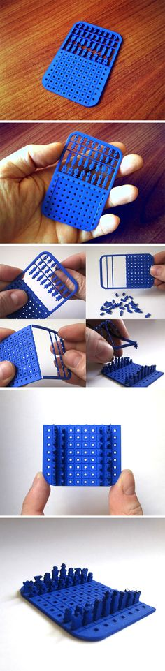 Never thought you could put a chess set in your back-pocket, right? I mean, sure you could download a chess app, but where's the fun in tapping at a screen as opposed to actually moving chess pieces? Innovo's card chess set was literally designed to fit a game of tactile chess into your wallet! The 3D printed card-shaped, card-sized design comes with everything you need, from a board to all 32 chess pieces.