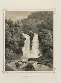 Norge fremstillet i Tegninger - Joachim Frich - Hundefoss i Sogn.  jpg (3592×4896)