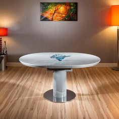 Extendable round / oval grey gloss dining table with stainless steel base 1050mm diameter extending to 1050mm width & 1350 length. HT2088GREY1.2LR2.jpg