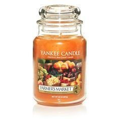 Yankee Candle Farmers Market Scented Premium Paraffin Grade Candle Wax with up to 150 Hour Burn Time, Large Jar Candles For Sale, Fall Candles, Best Candles, Yankee Candle Fall, Yankee Candle Scents, Yankee Candles, Farmers Market, Peach Salsa, Candle Accessories