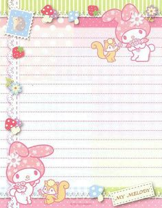 My Melody - Papel de Carta - Writing Paper - Letter Paper - Free Printables - Stationery My Melody Wallpaper, Sanrio Wallpaper, Hello Kitty Wallpaper, Printable Scrapbook Paper, Printable Paper, Kawaii Stationery, Stationery Paper, Cute Letters, Cute Stationary