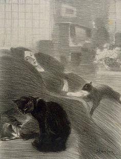 En la sombra de los lápices, ronronean los gatos.  Théophile Alexandre Steinlen (Swiss; 1859–1923)