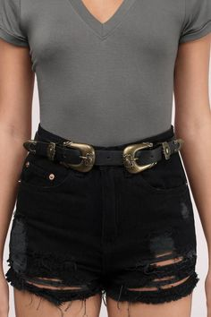 "Shop the ""This Feeling Double Buckle Western Tip Belt"" on Tobi.com now! music festival coachella boho bohemian waist accessory accessorize belted chic fashionable style"