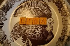 cheez-it place cards on kids' table for Thanksgiving
