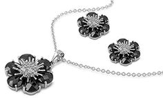 Flower Earrings Black Simulated CZ Clear Simulated CZ .925 Sterling Silver Pendant Set * You can find more details by visiting the image link.