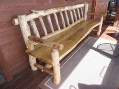 Hand-peeled rustic bench