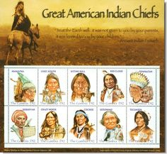 Great American Indian Chiefs Sheet of 10 Stamps 2005 Gambia, Cochise, Hiawatha Apache Native American, Native American Prayers, Native American Wisdom, Native American Artwork, Native American History, Choctaw Indian, Indian Tribes, Native Indian, Indian Pictures