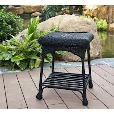 Darby Home Co Herscher Wicker/Rattan Side Table Finish: Black Wicker Side Table, Outdoor Wicker Patio Furniture, Patio Side Table, Glass Side Tables, Outdoor Tables, Wicker Furniture, Garden Furniture, End Tables, Outdoor Decor