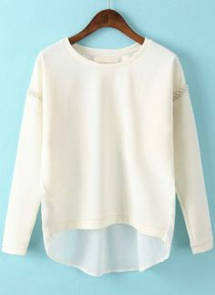 White Long Sleeve Bead Chiffon Dipped Hem Blouse pictures