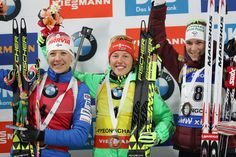 (L to R) Second place Kaisa Makarainen of Finland first place Laura Dahlmeier of Germany and third place Anais Bescond of France celebrate during the flower celemony for the Woman 10km Pursuit during the BMW IBU World Cup Biathlon 2017 - test event for PyeongChang 2018 Winter Olympic Games at Alpensia Biathlon Centre on March 4, 2017 in Pyeongchang-gun, South Korea.