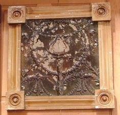 Circa 1900s Antique Framed Tin Ceiling Tile. This tile originated in a historic building in New Orleans, Louisiana.