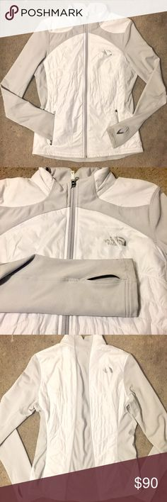 The North Face White Zip-Up Fitted Jacket Cute slimming, fitted, white, zip-up, size medium but runs small, warm jacket by The North Face! Excellent condition!! The North Face Jackets & Coats Puffers