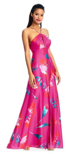 Fun and flirty the Sleeveless Halter Neck Floral Printed Evening Dress by Aidan Mattox is perfect for any social occasion. Featuring a floral print with halter neck, keyhole opening at the bust and a-line skirt. Orange Wedding Guest Dresses, Fall Wedding Dresses, Blue Wedding, Nail Design Spring, Halter Gown, Halter Neck, Designer Bridesmaid Dresses, Aidan Mattox, Column Dress