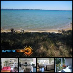 Bayside Sunset has five bedrooms, a huge family kitchen and private beach access on Lake Michigan. Peak summer dates still available! #bookdirect #itscabintime #travelmichigan #lakehouse