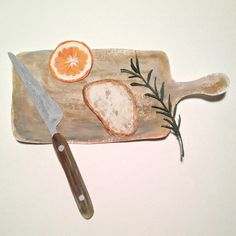 Gouache on paper cooking board, bread,orange,rosemary,knife Art And Illustration, Food Illustrations, Space Drawings, Art Drawings, Food Drawing, Painting & Drawing, Ideas Habitaciones, Poster Art, Guache