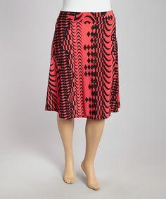 Loving this Hot Pink & Black Geometric Skirt - Plus on #zulily! #zulilyfinds