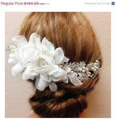 One Of A Kind Bridal hair flower, Bridal headpiece, Pearl Rhinestone hair pin, Bridal Hair comb, Wedding accessory