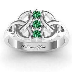 Celtic knot ring - Love this! Love with the emeralds but would also make a beautiful mother's ring for an Irish lass with 3 children...like me!