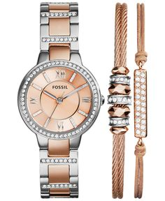 Fossil Women's Virginia Crystal Accent Two-Tone Stainless Steel Bracelet Watch Set - Watches - Jewelry & Watches - Macy's Fossil Jewelry, Jewelry Watches, Fossil Bracelet, Stainless Steel Bracelet, Stainless Steel Watch, Fossil Watches, Bracelet Set, Watch Bracelets, Bracelet Charms