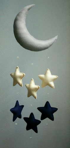 Moon and stars felt mobile