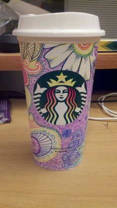 So Starbucks has these dollar reusable cups for sale right now, and all the partners got a free one, so naturally my first inclination was to doodle the bejesus out of mine. :D
