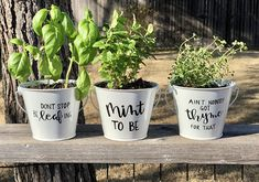 20 Amazingly Creative Herb Planters - Lydi Out Loud Gardening season is here! With creative options to buy or DIY, these beautiful herb planters will inspire any level of gardener to get planting this spring! Herb Planters, Herb Pots, Succulent Pots, Planters Flowers, Painted Plant Pots, Painted Flower Pots, Unicorn Diy, Easy Plants To Grow, Plantation