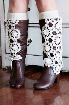Upcycled Leather Knee Boots 9 M Boho Shabby by poshcouture on Etsy,