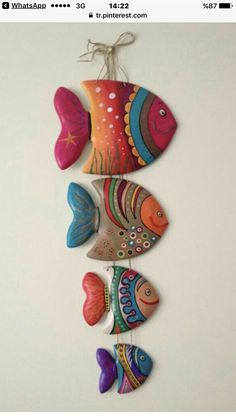 Clay Fish - fun to make for grandma and grandpa Clay Projects, Clay Crafts, Diy And Crafts, Arts And Crafts, Clay Wall Art, Clay Art, Clay Clay, Ceramic Pottery, Ceramic Art
