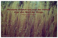 Mein Papa sagt...  Meistens belehrt uns erst der Verlust über den Wert der Dinge. Arthur Schopenhauer    Weisheiten und Zitate TÄGLICH NEU auf www.MeinPapasagt.de