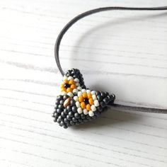 Hand Beaded Grey Owl Necklace - The British Craft House Owl Patterns, Beading Patterns, Color Patterns, Gray Owl, Wise Owl, Owl Necklace, Lampwork Beads, Craft House, Home Crafts