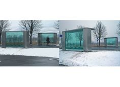 Jasper Morrison.Vitra Bus Stop. A pair of bus stop shelters designed for Vitra's Weil am Rhein site.