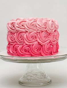 Oliver s Desserts creates custom cakes, cupcakes, amp; desserts in the Cincinnati area. From birthdays to weddings, we have your special event covered! Bolo Blaze, Cake Roses, Pink Rose Cake, Pink Ombre Cake, Cakes With Roses, Ombre Rosette Cake, Cupcakes Decorados, Ricotta Cake, Zucchini Cake