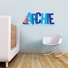 Nautical Theme Sailing Boat Personalised Name Children's Bedroom Kids Room Playroom Nursery Wall Sticker Wall Art Vinyl Wall Decal Wall Mural Transfer V&C Designs Ltd http://www.amazon.co.uk/dp/B00NHQFLNU/ref=cm_sw_r_pi_dp_CJF5vb171K2A6
