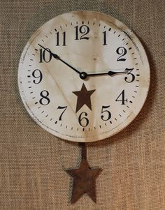Star Clock with Pendulum - Rust / Like us on Facebook!  https://www.facebook.com/AllysonsPlaceDecor   #Primitive #country