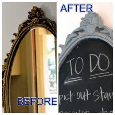 Spray Painted Chalkboard Before and After