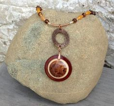 OOAK Art Nouveau Necklace Round Pendant Bohemian 18 inch Necklace Turned Exotic Wood Burl Orange Glass Beads Antique Copper Autumn Jewelry   by WoodenItBeadLovely, $79.00 USD