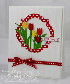 Stampin' Up! Punch Art by Wendy W at Wickedly Wonderful Creations: Heart punch Tulips